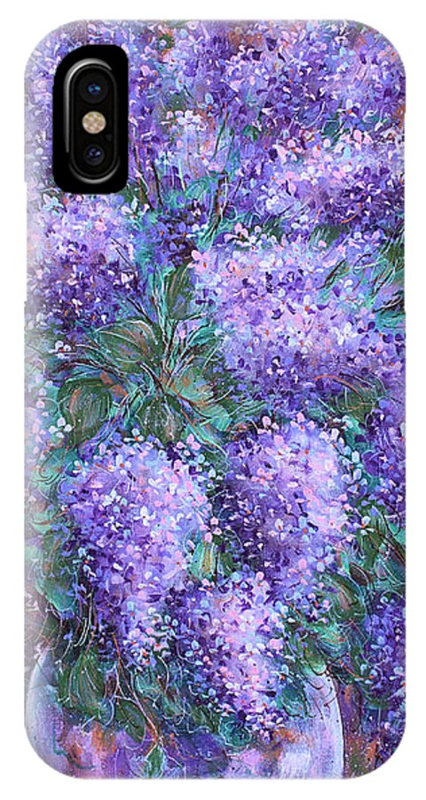 Flowers IPhone X Case featuring the painting Scented Lilacs Bouquet by Natalie Holland
