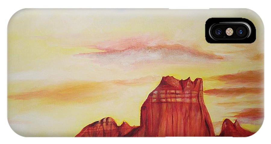 Western IPhone X Case featuring the painting Sedona Az by Eric Schiabor