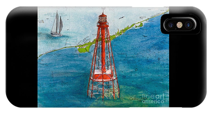 IPhone X Case featuring the painting Sombrero Key Lighthouse Fl Chart Art Cathy Peek by Cathy Peek