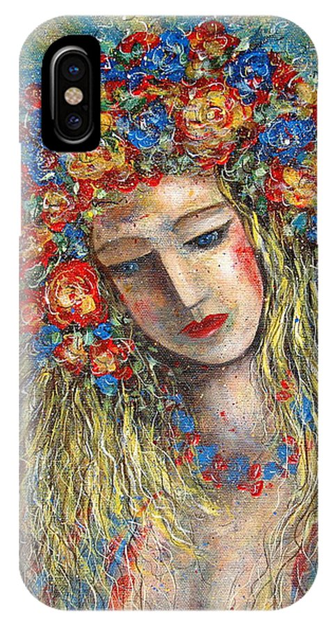 Painting IPhone X Case featuring the painting The Loving Angel by Natalie Holland