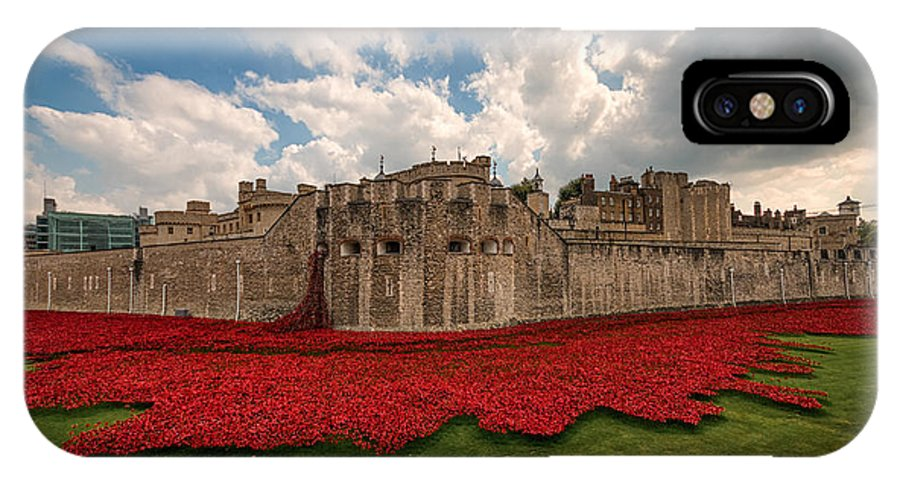 Tower IPhone X Case featuring the photograph  Tower Of London Remembers. by Ian Hufton