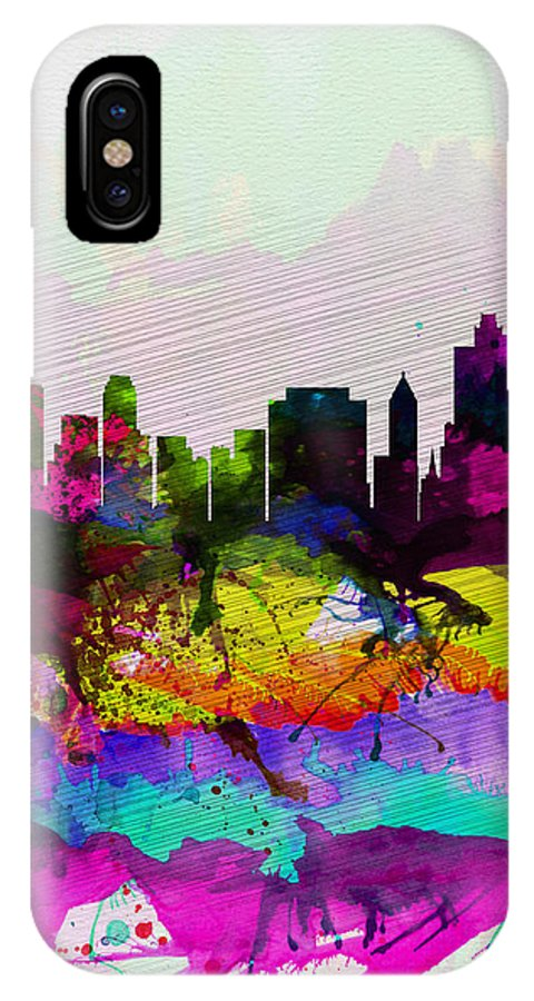 Tulsa IPhone X Case featuring the painting Tulsa Watercolor Skyline by Naxart Studio