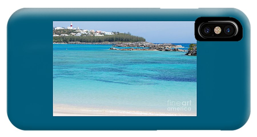 Seascape Travel Bermuda Serenity Stock Shot Destination St Davids Island Nature Tourism Lighthouse Adventure Beauty Landmark Water Art Outdoors Ocean Rocks Forest Feng Shui Turquoise Color Blue Greeting Card Metal Frame Recommended Poster Print Available On Shower Curtains Tote Bags T Shirts Weekender Tote Bags Duvet Covers Pouches Throw Pillows Beach Towels Mugs And Phone Cases IPhone X Case featuring the photograph A Vision Of Turtle Bay, Bermuda by Marcus Dagan