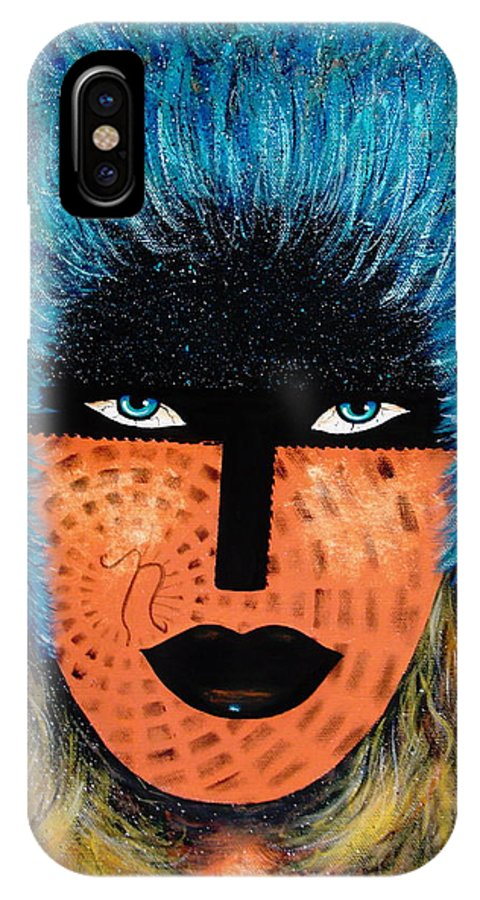 Woman IPhone X Case featuring the painting Viva Niva by Natalie Holland