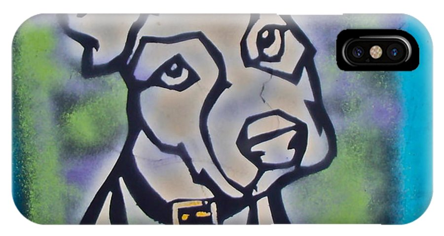 Stencil Paintings IPhone X Case featuring the painting White Dog by Tony B Conscious