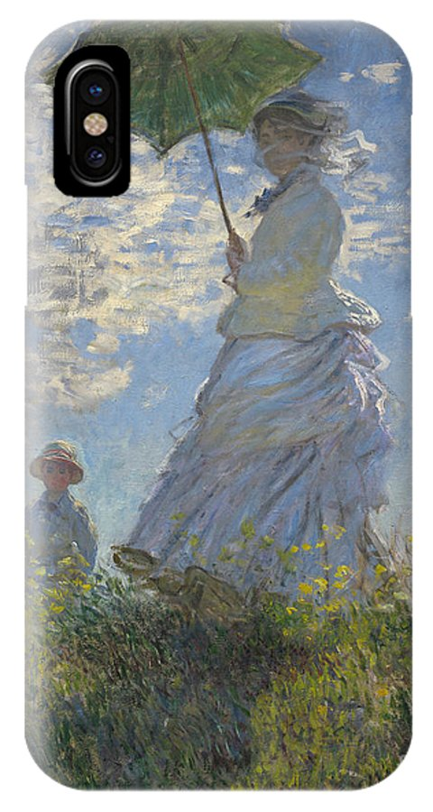 Female; Male; Boy; Child; Hill; Walking; Walk; Stroll; Summer; Outdoors; Mother; Hat; Impressionist; Artists IPhone X Case featuring the painting Woman With A Parasol Madame Monet And Her Son by Claude Monet