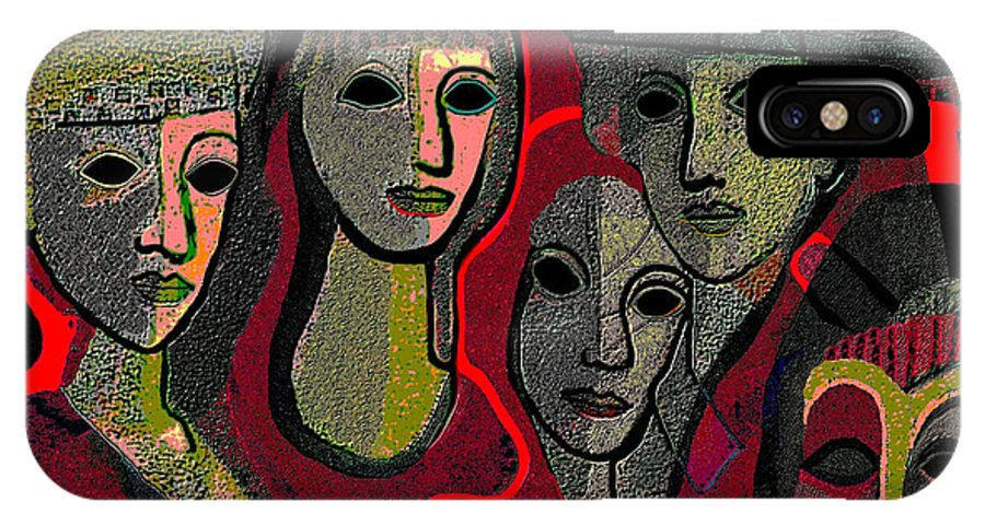 Eyeless IPhone X Case featuring the painting 006 - Women And Masks ... by Irmgard Schoendorf Welch