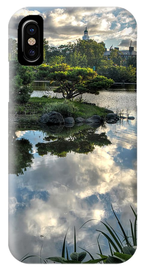 Garden IPhone X Case featuring the photograph 007 Delaware Park Japanese Garden Mirror Lake Series by Michael Frank Jr