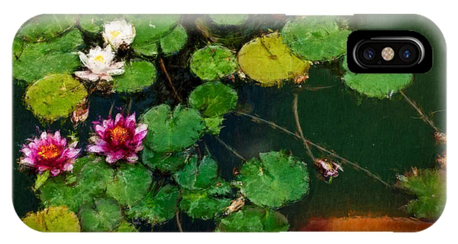 Asia IPhone X Case featuring the digital art 0148-lily - Expressionist Plein Air Sl by David Lange