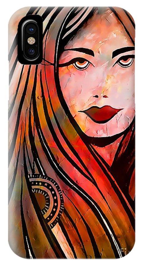 Woman IPhone X Case featuring the digital art 051-13 by Marek Lutek