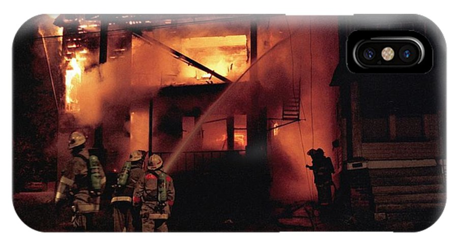 Fire IPhone X Case featuring the photograph 071506-4 Cleveland Firefighters On The Job by Mike Davis
