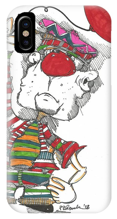 Drawing IPhone X Case featuring the drawing 095 by Philip Blanche