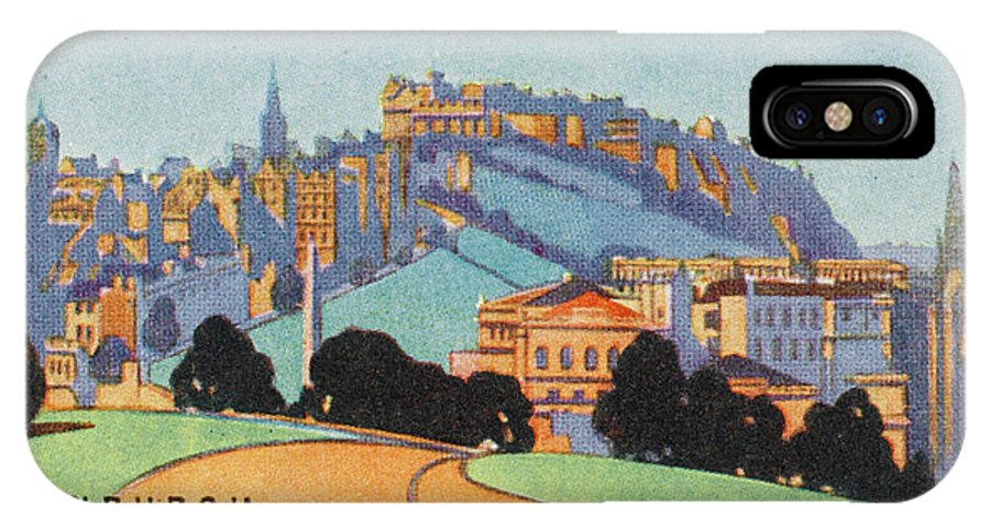 Edinburgh IPhone X Case featuring the drawing Edinburgh General View    Date by Mary Evans Picture Library
