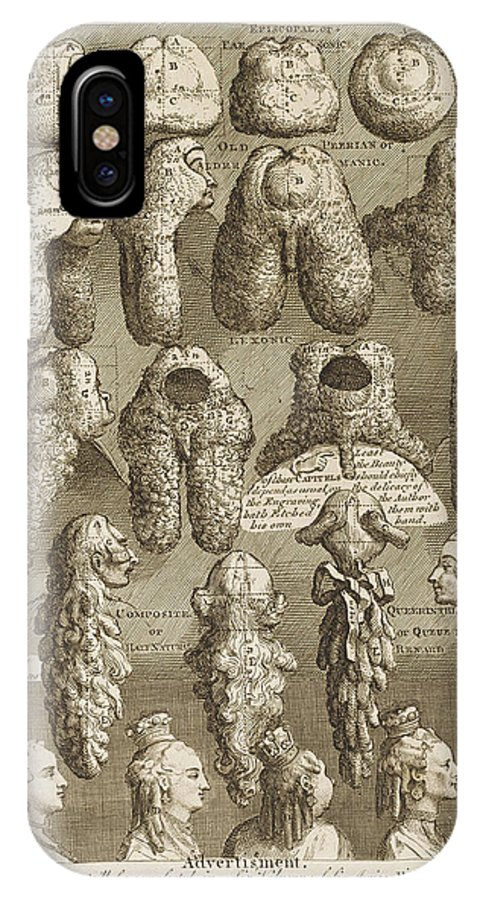 Hogarth IPhone X Case featuring the drawing The Five Orders Of Periwigs by Mary Evans Picture Library