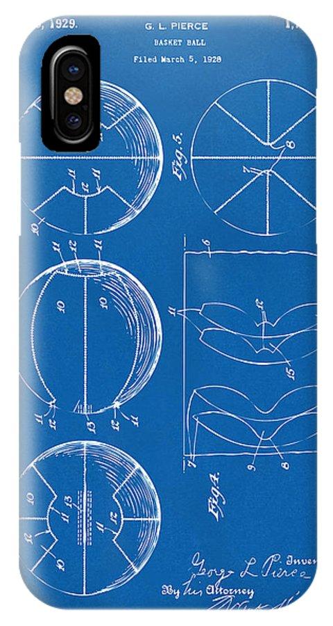 Basketball IPhone X Case featuring the digital art 1929 Basketball Patent Artwork - Blueprint by Nikki Marie Smith