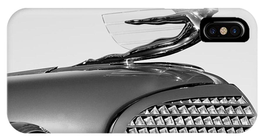 1937 Cadillac V8 Hood Ornament IPhone X Case featuring the photograph 1937 Cadillac V8 Hood Ornament by Jill Reger