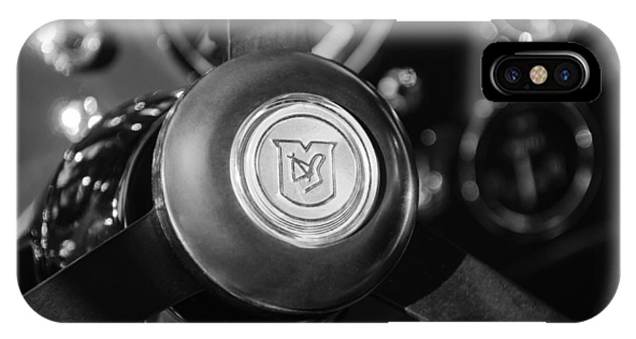 1964 Aston Martin Steering Wheel Emblem IPhone X Case featuring the photograph 1964 Aston Martin Steering Wheel Emblem by Jill Reger
