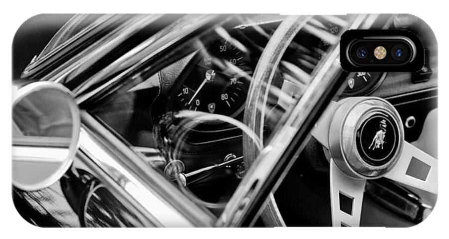1969 Lamborghini Islero Steering Wheel Emblem IPhone X Case featuring the photograph 1969 Lamborghini Islero Steering Wheel Emblem by Jill Reger