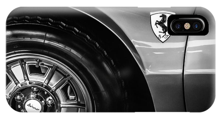1971 Ferrari Dino Gt Wheel Emblem IPhone X Case featuring the photograph 1971 Ferrari Dino Gt Wheel Emblem -027c by Jill Reger