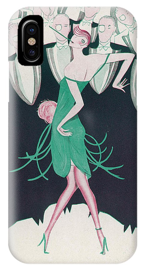 1928 IPhone X Case featuring the drawing A Flapper In A Green Dress Dances by Mary Evans Picture Library