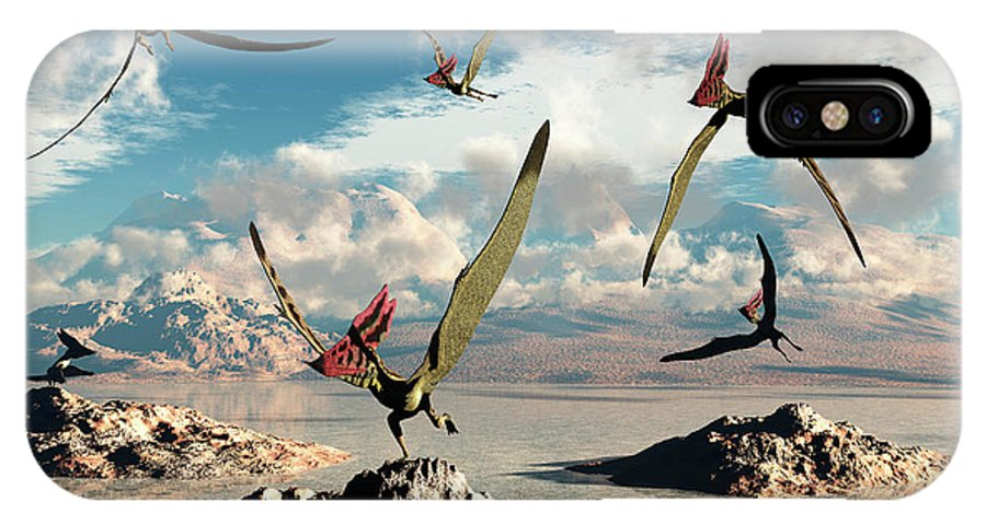 Horizontal IPhone X Case featuring the photograph A Flock Of Thalassodromeus Pterosaurs by Mark Stevenson
