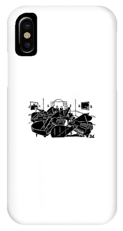 Pianos IPhone X Case featuring the drawing A Guy Talks To Another Guy In A Room Of Seven by Drew Dernavich