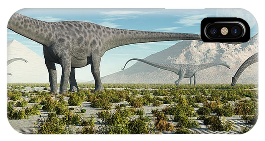 Horizontal IPhone X Case featuring the photograph A Herd Of Diplodocus Sauropod Dinosaurs by Mark Stevenson
