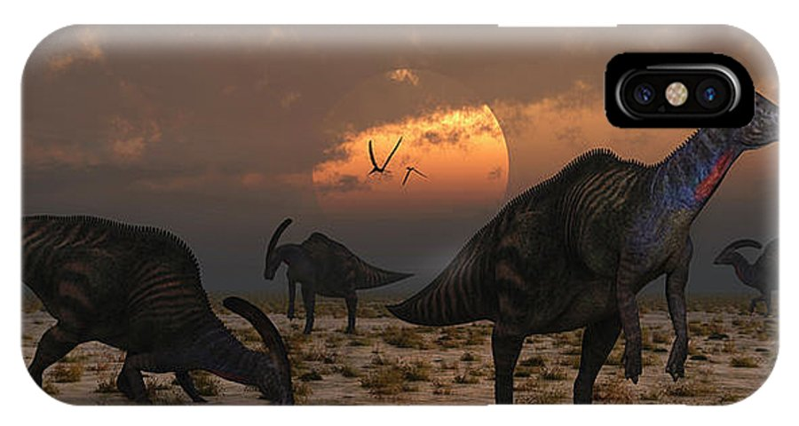 Dusk IPhone X Case featuring the photograph A Herd Of Parasaurolophus Dinosaurs by Mark Stevenson