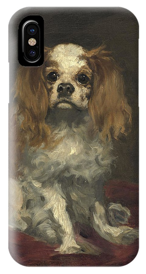 Edouard Manet IPhone X Case featuring the painting A King Charles Spaniel by Celestial Images