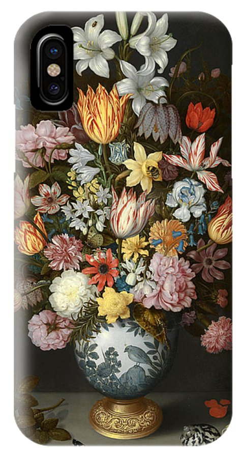 Ambrosius Bosschaert The Elder IPhone X Case featuring the painting A Still Life Of Flowers In A Wan Li Vase by Ambrosius Bosschaert the Elder