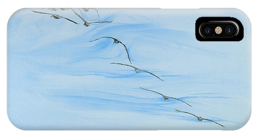 Birds Flying IPhone X Case featuring the painting Adios by John Wilson
