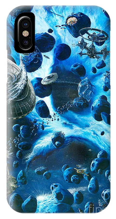 Asteroid IPhone Case featuring the painting Alien Pirates by Murphy Elliott