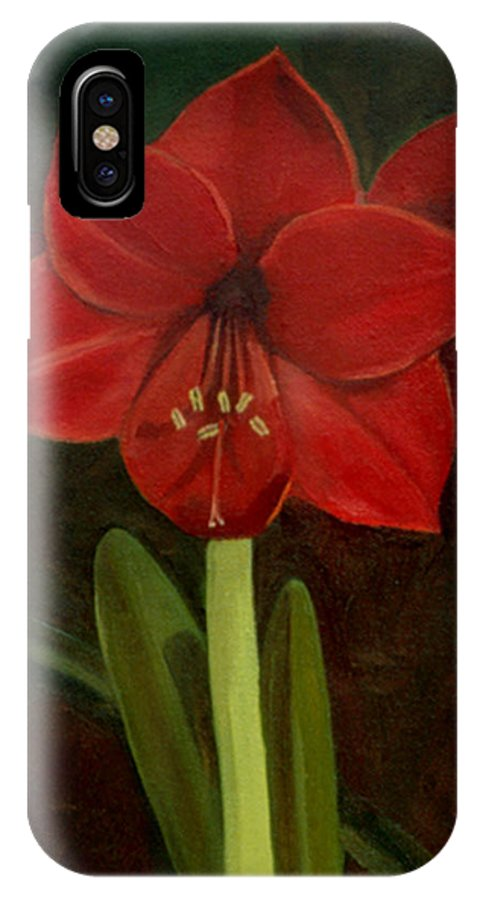 Amaryllis IPhone X Case featuring the painting Amaryllis by Nancy Griswold