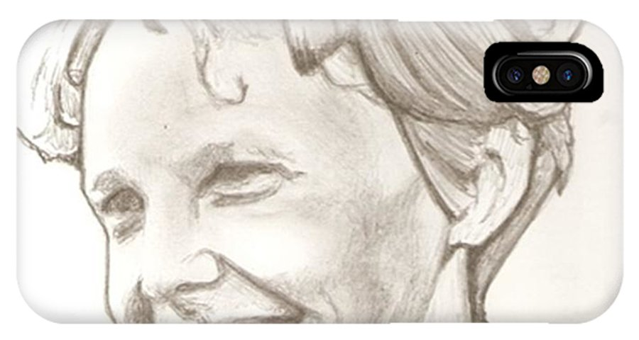 Amelia Earhart IPhone X Case featuring the drawing Amelia Earhart Drawing by Robert Crandall