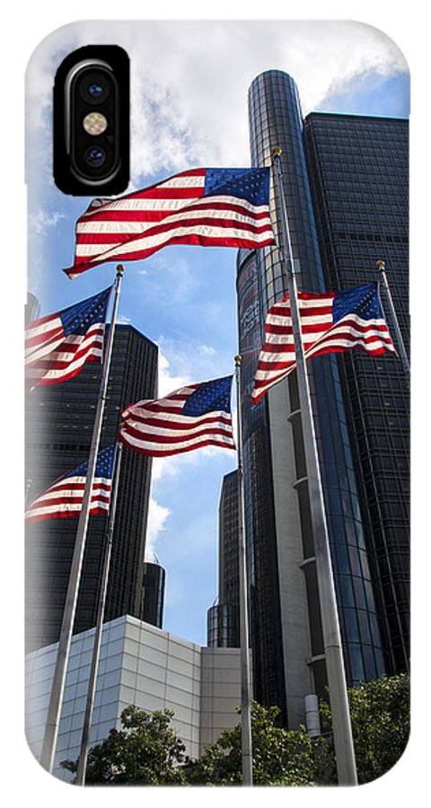 American Flag IPhone X Case featuring the photograph American Flags In Front Of The Detroit Renaissance Center by Gej Jones
