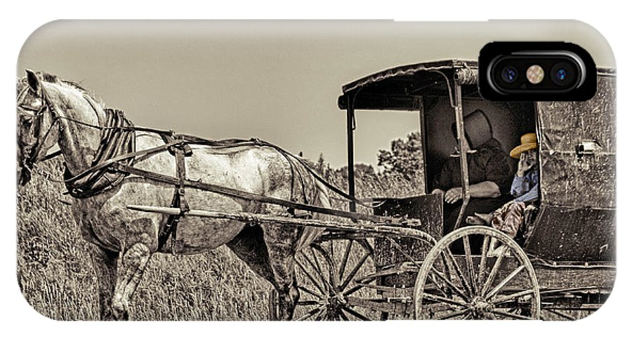 Horse IPhone X Case featuring the photograph Amish Boy Tips Hat by Robert Frederick