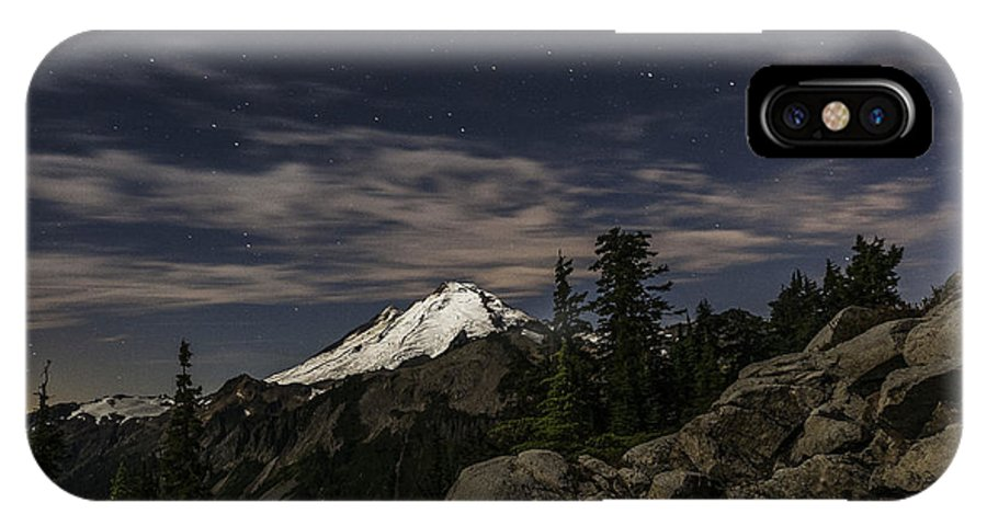 Artist Point IPhone X Case featuring the photograph Mt. Baker At Night 1 by Paul Conrad
