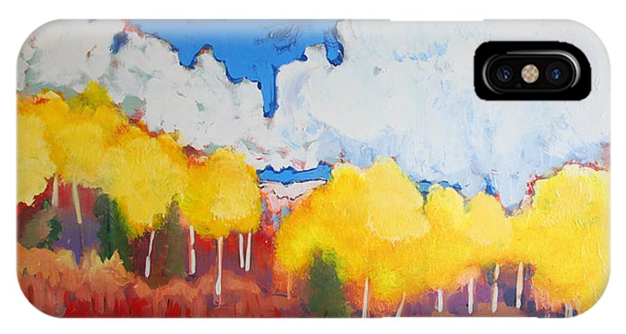 Aspens IPhone X Case featuring the painting Aspens by Kurt Hausmann