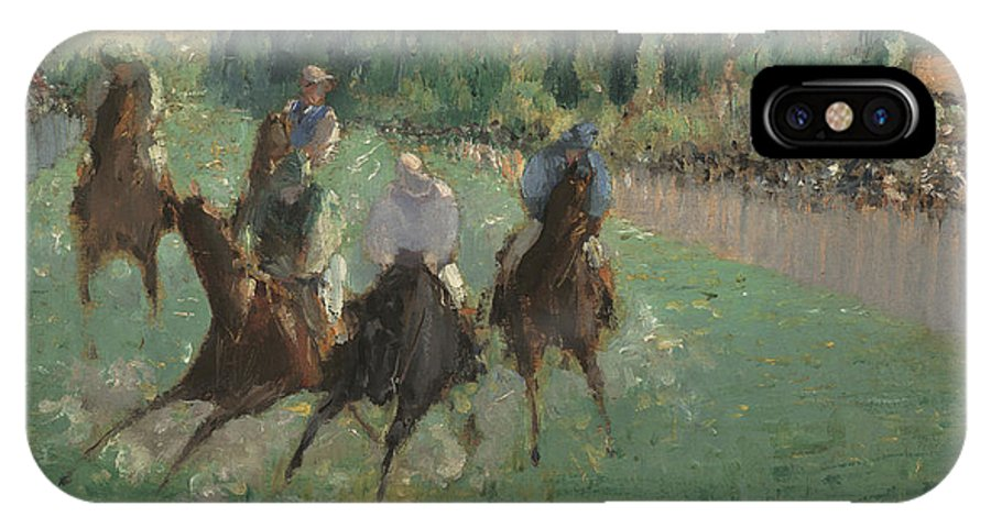 Edouard Manet IPhone X Case featuring the painting At The Races by Celestial Images