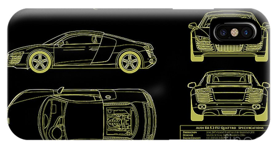 Audi r8 blueprint iphone x case for sale by jon neidert audi r8 blueprint iphone x case featuring the photograph audi r8 blueprint by jon neidert malvernweather Image collections