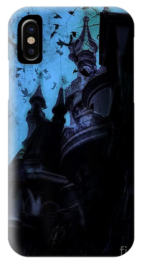 Sleeping Beauty Castle IPhone X Case featuring the digital art Aurora's Nightmare II by Marina McLain