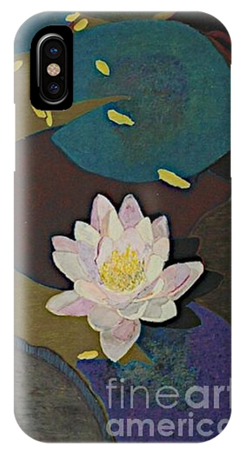 Landscape IPhone X Case featuring the painting Autumn Lily by Allan P Friedlander