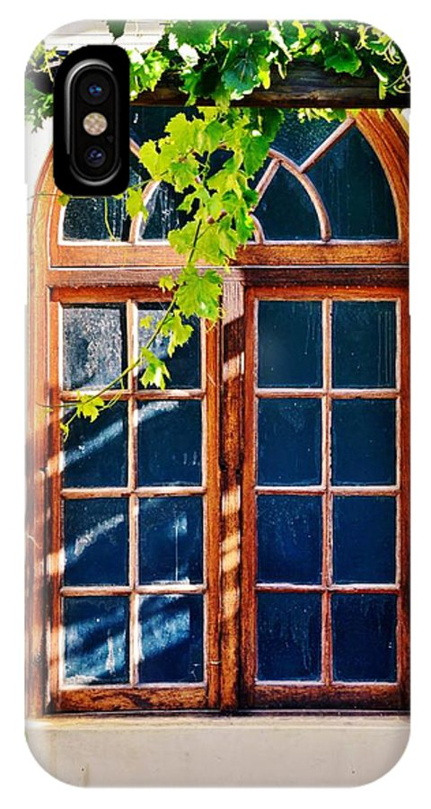 Bay Window; Wood; Wooden; Frame; Decor; Decorative; Detail; Wild Wine; Plant; Leafs; Green; Sunlight; Wall; Wallpaper; Poster; Desktop; Glass; Brown; Background; IPhone X Case featuring the photograph Bay Window by Werner Lehmann