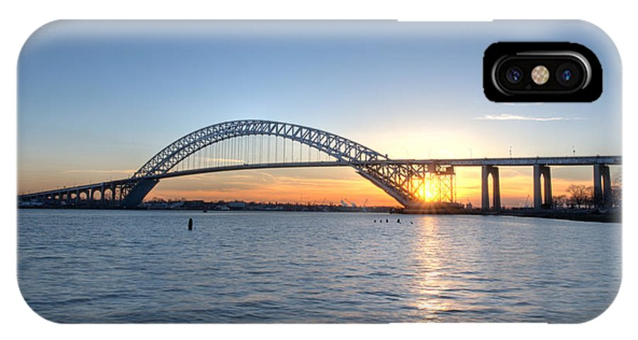 Sunset IPhone X Case featuring the photograph Bayonne Bridge Sunset by Michael Ver Sprill