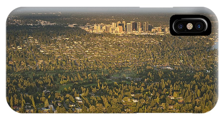 Bellevue Skyline IPhone X Case featuring the photograph Bellvue Skyline At Sunset by Jim Corwin