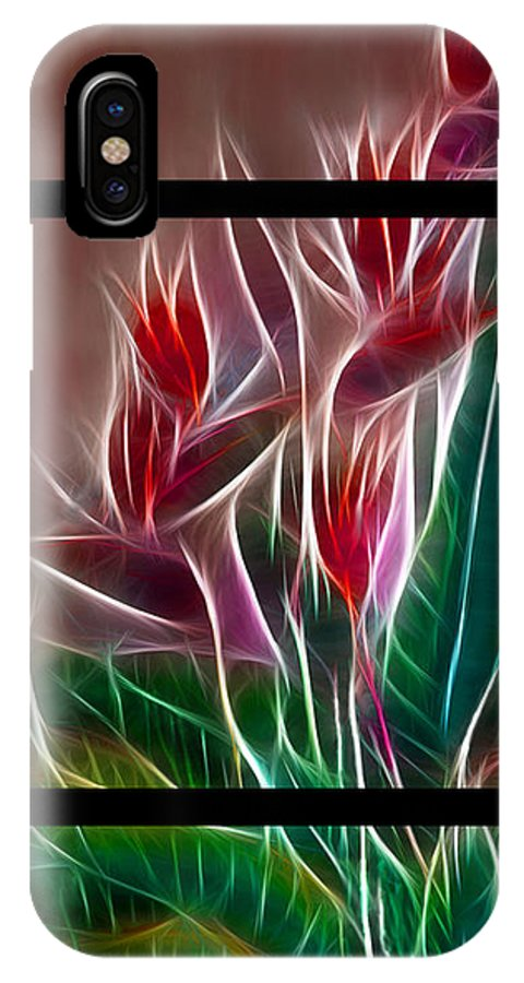 Bird Of Paradise IPhone X Case featuring the digital art Bird Of Paradise Fractal by Peter Piatt