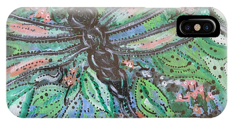 Dragonfly IPhone X Case featuring the painting Black Dragonfly by Jamie Scott
