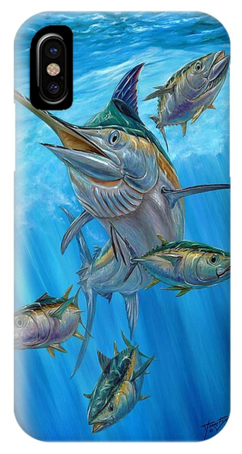 Black Marlin IPhone X Case featuring the painting Black Marlin And Albacore by Terry Fox