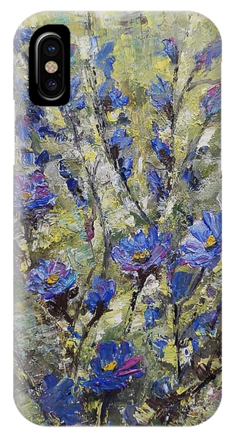Summer IPhone X Case featuring the painting Blue Flowers by Maria Karalyos