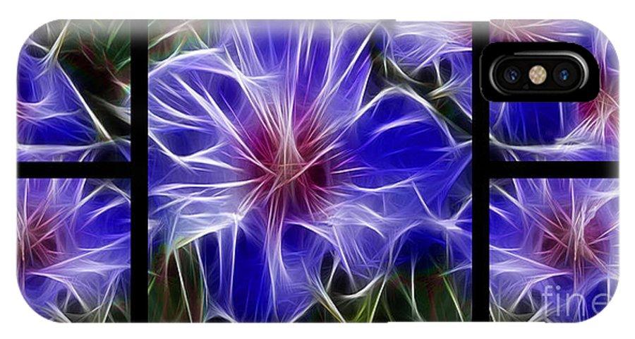 Blue IPhone X Case featuring the digital art Blue Hibiscus Fractal by Peter Piatt